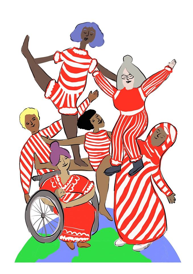 Illustration of women of all shapes, sizes, nationalities, cultures and abilities holding each other up on top of the world