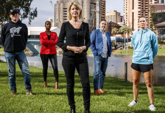 Photo by Matt Turner, The Advertiser. Natasha Stott-Despoja, centre, with Dave Gleeson, Khadija Gbla, Craig Rigney and Chelsea Randall