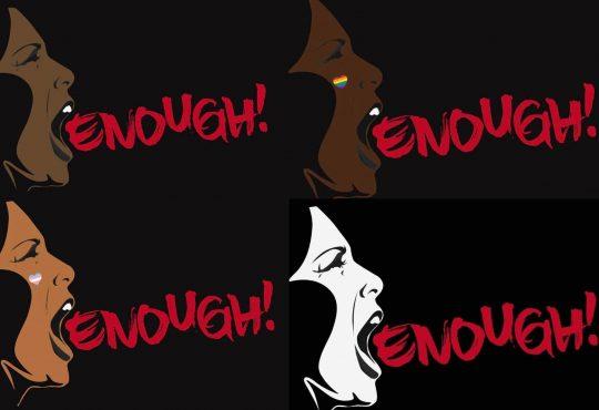 Diverse women yell: enough!