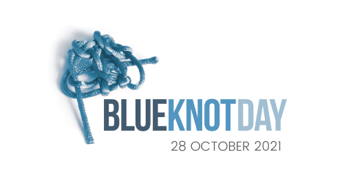 Image depicts a tangled knot of blue rope with the text 'Blue Knot Day - October 28th 2021' overlaid on a white background