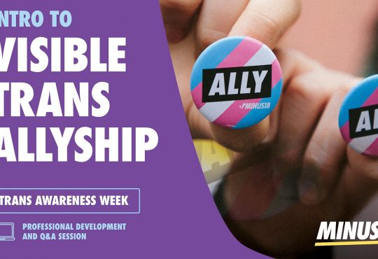 Two hands are holding badges in the trans flag colours that say 'ALLY #Minus18' on the right hand side of the image. The left side has a purple background with the words 'Intro to Visible Trans Allyship' above a box holding the text 'Trans Awareness Week'. Below this a graphic of a computer accompanies the text 'Professional Development and Q&A session.